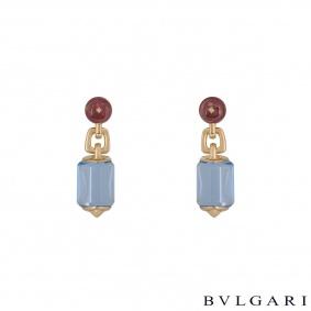 Bvlgari Rose Gold Amethyst And Aquamarine Earrings
